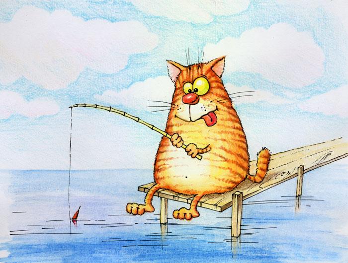 Открытка с днем рождения кот и рыба, картинка радость