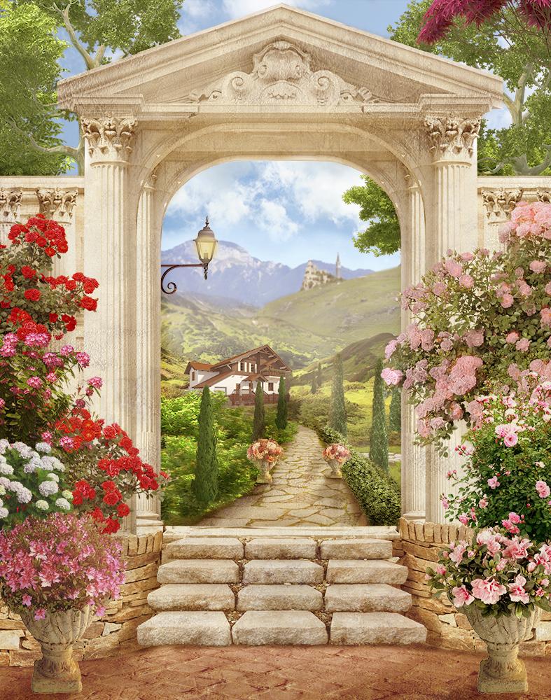 можно фотообои арки веранды с цветами скажу