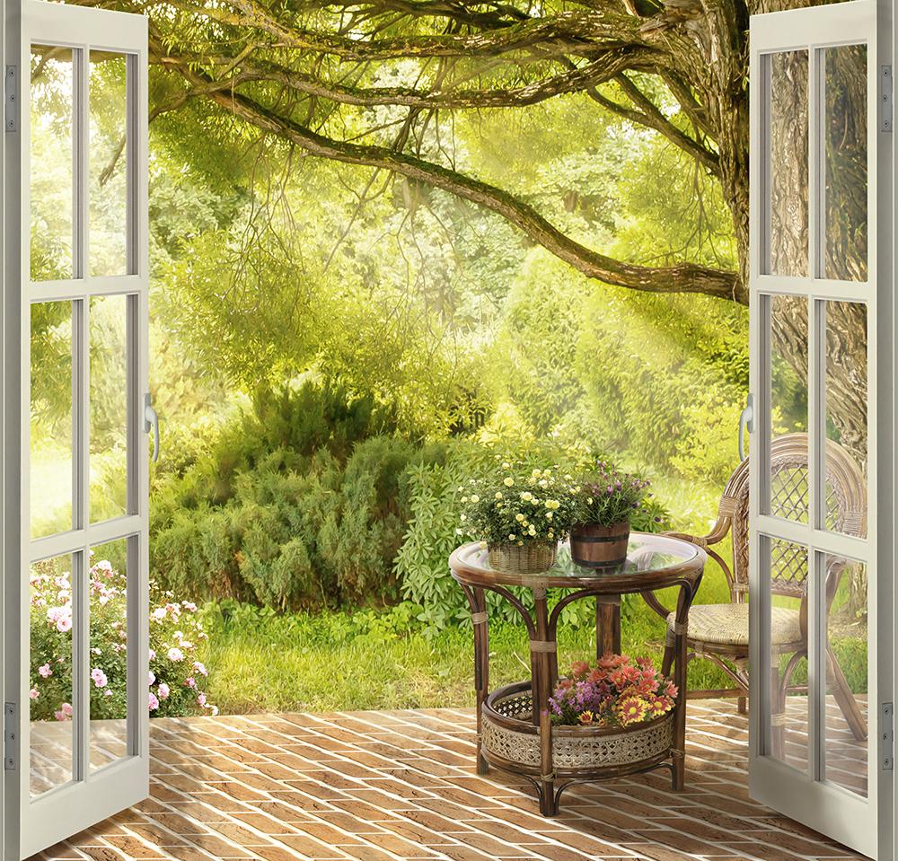 фотообои вид из окна в сад каталась аттракционе