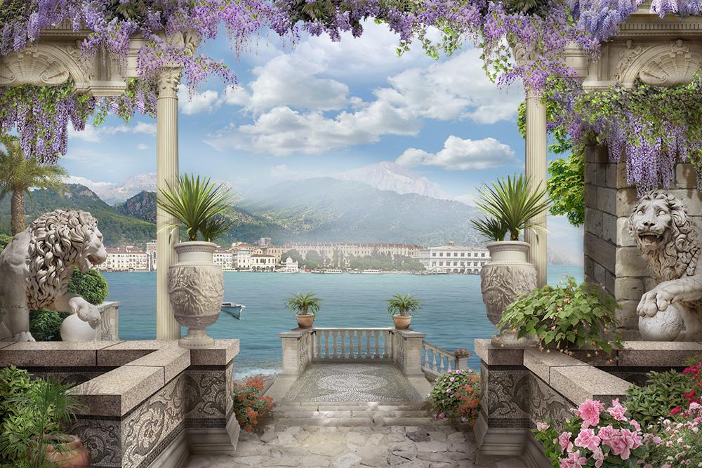 фотообои арки веранды с цветами для