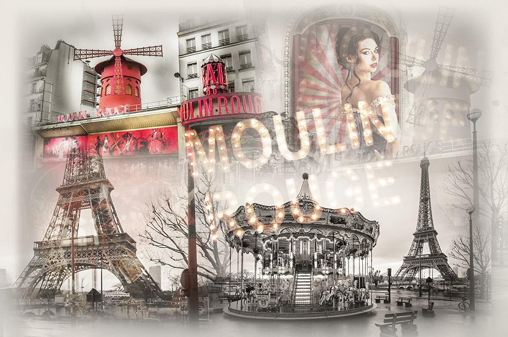 момент фотоколлаж из фотографий париж на стекле месте